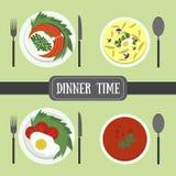 Επίπεδα τρόφιμα για το γεύμα ή luhch Στοκ Εικόνες