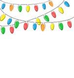 Επίπεδα φω'τα Χριστουγέννων που απομονώνονται στο λευκό ελεύθερη απεικόνιση δικαιώματος