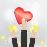 Επίπεδα χρήματα, χρόνος, καρδιά και ιδέα αποταμίευσης χεριών ύφους διανυσματικά Στοκ εικόνες με δικαίωμα ελεύθερης χρήσης