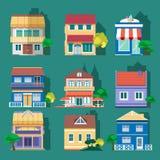 Επίπεδα χρωματισμένα σχέδιο κτήρια καθορισμένα επίσης corel σύρετε το διάνυσμα απεικόνισης Στοκ φωτογραφίες με δικαίωμα ελεύθερης χρήσης