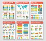 Επίπεδα infographic στοιχεία καθορισμένα Στοκ Εικόνες