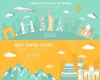 Επίπεδες έννοιες απεικόνισης σχεδίου για το ταξίδι και τον τουρισμό έμβλημα Ιστού με το σύνολο παγκόσμιων ορόσημων και θέσεων στο ελεύθερη απεικόνιση δικαιώματος