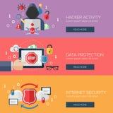 Επίπεδες έννοιες σχεδίου για τη δραστηριότητα χάκερ, στοιχεία Στοκ εικόνες με δικαίωμα ελεύθερης χρήσης