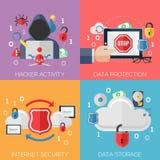 Επίπεδες έννοιες σχεδίου για τη δραστηριότητα χάκερ, στοιχεία Στοκ Εικόνες
