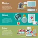 Επίπεδες έννοιες σχεδίου για τις ηλεκτρονικές υπηρεσίες χρημάτων ε-τραπεζικές εργασίες ελεύθερη απεικόνιση δικαιώματος