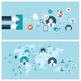 Επίπεδες έννοιες σχεδίου για τις σε απευθείας σύνδεση ιατρικές υπηρεσίες α Στοκ Εικόνα