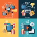 Επίπεδες έννοιες σχεδίου για τον κινηματογράφο, παραγωγή κινηματογράφων Στοκ εικόνες με δικαίωμα ελεύθερης χρήσης