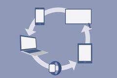Επίπεδες έξυπνες συσκευές σχεδίου, κοινωνική έννοια δικτύων διανυσματική απεικόνιση