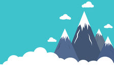 Επίπεδες αιχμές βουνών ύφους επάνω από τα σύννεφα Στοκ Εικόνα