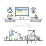 Επίπεδες γραμμών έννοιες απεικόνισης σχεδίου διανυσματικές για τα ανθρώπινα δυναμικά και το επιχειρησιακό analytics Στοκ Εικόνες
