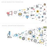 Επίπεδες γραμμών έννοιες απεικόνισης σχεδίου διανυσματικές για το μάρκετινγκ Στοκ Εικόνα