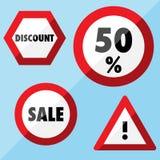 Επίπεδες ετικέτες πώλησης - οδικά σημάδια Στοκ Φωτογραφίες