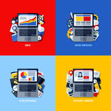 Επίπεδες διανυσματικές έννοιες SEO, σχέδιο Ιστού, ηλεκτρονικό εμπόριο, κοινωνικά μέσα Στοκ Φωτογραφίες