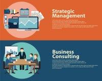 Επίπεδες διοικητική έννοια στρατηγικής επιχειρησιακής επιτυχίας ύφους και επιχειρησιακή διαβούλευση Πρότυπα εμβλημάτων Ιστού καθο Στοκ εικόνα με δικαίωμα ελεύθερης χρήσης
