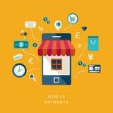 Επίπεδες κινητές πληρωμές σχεδίου Στοκ Εικόνα