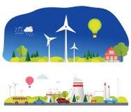 Επίπεδες infographic εγκαταστάσεις eco απεικόνιση αποθεμάτων