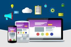 Επίπεδες lap-top, τηλέφωνο και ταμπλέτα Υλικά εικονίδια σχεδίου Στοκ εικόνα με δικαίωμα ελεύθερης χρήσης