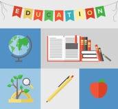 Επίπεδη έννοια απεικόνισης εκπαίδευσης Στοκ φωτογραφία με δικαίωμα ελεύθερης χρήσης