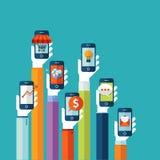 Επίπεδη έννοια απεικόνισης σχεδίου για τα κινητά apps Στοκ Εικόνα