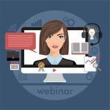 Επίπεδη έννοια απεικόνισης σχεδίου ζωηρόχρωμη για webinar, μαθαίνοντας on-line, διαλέξεις σε Διαδίκτυο στο διάνυσμα Στοκ Εικόνα