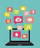 Επίπεδη έννοια απεικόνισης σχεδίου διανυσματική για το κοινωνικό δίκτυο Στοκ Φωτογραφίες