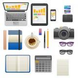 Επίπεδη έννοια απεικόνισης σύγχρονου σχεδίου διανυσματική του δημιουργικού χώρου εργασίας γραφείων Στοκ Εικόνες