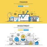 Επίπεδη έννοια γραμμών σχεδίου - επένδυση και χρηματοδότηση Στοκ Εικόνες