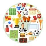 Επίπεδη έννοια εικονιδίων ποδοσφαίρου Στοκ Φωτογραφίες