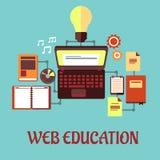 Επίπεδη έννοια εκπαίδευσης Ιστού Στοκ εικόνα με δικαίωμα ελεύθερης χρήσης