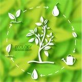 Επίπεδη έννοια εμβλημάτων φύλλων eco επίσης corel σύρετε το διάνυσμα απεικόνισης Στοκ Εικόνες