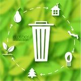Επίπεδη έννοια εμβλημάτων φύλλων eco επίσης corel σύρετε το διάνυσμα απεικόνισης Στοκ Εικόνα