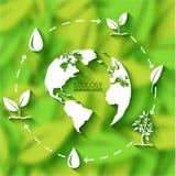 Επίπεδη έννοια εμβλημάτων φύλλων eco επίσης corel σύρετε το διάνυσμα απεικόνισης Στοκ εικόνες με δικαίωμα ελεύθερης χρήσης
