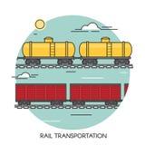 Επίπεδη έννοια περιλήψεων βαγονιών εμπορευμάτων φορτίου Σφαιρικές διοικητικές μέριμνες μεταφορών τραίνων φορτίου Μεταφορά από το  Στοκ Φωτογραφίες