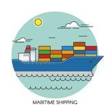 Επίπεδη έννοια περιλήψεων σκαφών φορτίου Θαλάσσιες σφαιρικές διοικητικές μέριμνες μεταφορών φορτίου Μεταφορά θαλασσίως Στοκ Φωτογραφία