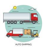 Επίπεδη έννοια περιλήψεων φορτηγών φορτίου Αυτόματες σφαιρικές διοικητικές μέριμνες μεταφορών φορτίου Μεταφορά οδικώς Στοκ φωτογραφίες με δικαίωμα ελεύθερης χρήσης