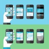 Επίπεδη έννοια σχεδίου για τις έξυπνες τηλεφωνικές υπηρεσίες και apps διανυσματική απεικόνιση