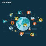 Επίπεδη έννοια σχεδίου για το κοινωνικό δίκτυο Στοκ Εικόνες