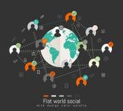 Επίπεδη έννοια σχεδίου με τον παγκόσμιο χάρτη και κοινωνική έννοια δικτύων Στοκ φωτογραφία με δικαίωμα ελεύθερης χρήσης