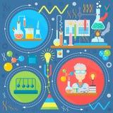 Επίπεδη έννοια σχεδίου της επιστήμης και της τεχνολογίας Επιστημονική έρευνα, χημικό σχέδιο έννοιας infographics πειράματος, Ιστό ελεύθερη απεικόνιση δικαιώματος