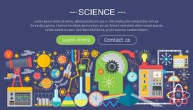 Επίπεδη έννοια σχεδίου της επιστήμης Οριζόντιο έμβλημα με τους εργασιακούς χώρους επιστημόνων Infographics πειράματος επιστημονικ ελεύθερη απεικόνιση δικαιώματος