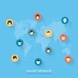 Επίπεδη έννοια σχεδίου του κοινωνικού δικτύου Στοκ Εικόνες