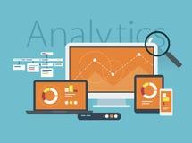 Επίπεδη έννοια σχεδίου του analytics ιστοχώρου Στοκ εικόνες με δικαίωμα ελεύθερης χρήσης