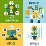 Επίπεδη έννοια της επιχείρησης, γραφείο, επίτευγμα διανυσματική απεικόνιση