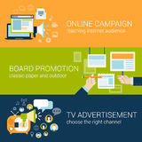 Επίπεδη έννοια τύπων διαφημιστική καμπάνια ύφους infographic Στοκ Εικόνες