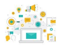 Επίπεδη έννοια υποβάθρου μάρκετινγκ επιχειρησιακού ηλεκτρονικού ταχυδρομείου γραμμών ελεύθερη απεικόνιση δικαιώματος