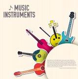 Επίπεδη έννοια υποβάθρου οργάνων μουσικής διάνυσμα Στοκ Εικόνες