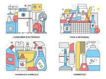 Επίπεδη απεικόνιση γραμμών καταναλωτικών προϊόντων Στοκ Εικόνες