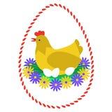 Επίπεδη απεικόνιση εκκολάπτοντας αυγών κοτών Στοκ Εικόνα