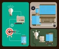 Επίπεδη απεικόνιση - επιχείρηση και επικοινωνίες Στοκ Εικόνες