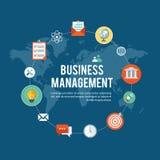 Επίπεδη απεικόνιση διοίκησης επιχειρήσεων με τα εικονίδια Στοκ εικόνες με δικαίωμα ελεύθερης χρήσης